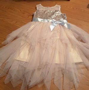 Zunie pink grey sequin tulle pink grey dress sz 12